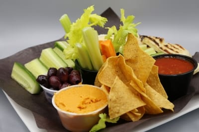 Nachos and fruit dipping plate
